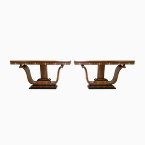Art Deco Walnut & Rosewood Console Tables, 1940s, Set of 2