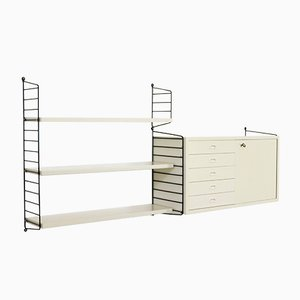 Vintage White Lacquered Modular Shelving System by Katja & Nisse Strinning for String, 1960s