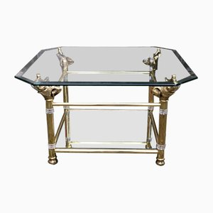 Hollywood Regency Brass and Glass Coffee Table with Elephant Heads, 1970s