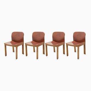 Esszimmerstühle mit Sitz aus Leder, 1970er, 6er Set