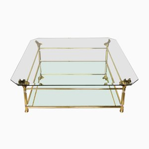 Large Hollywood Regency Brass and Glass Coffee Table, 1970s