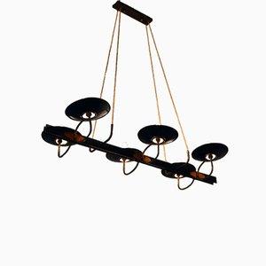 Lámpara de araña de latón y cobre, años 50