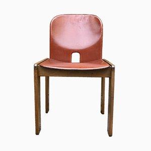 121 Esszimmerstühle mit rotem Ledersitz von Afra & Tobia Scarpa für Cassina, 1968, 6er Set