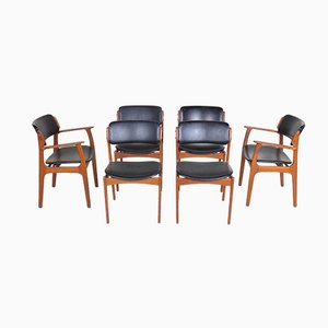 Model 49 Teak Dining Chairs & Carvers by Erik Buch for O.D. Møbler, 1960s, Set of 6