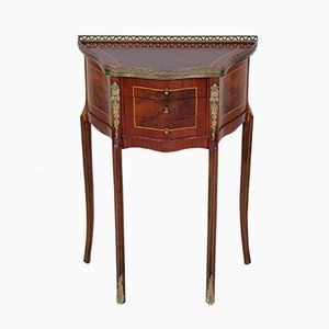 Vintage Walnut Marquetry Side Table, 1920s