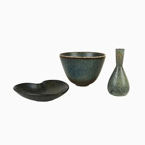 Ceramic Vase & 2 Bowls Set from Carl-Harry Stålhane & Gunnar Nylund for Rörstrand, 1950s