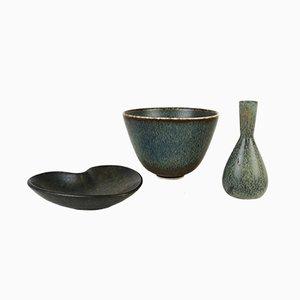 Ceramic Vase & 2 Bowls Set from Carl-Harry Stålhane & Gunnar Nylund for Rörstrand, 1950s