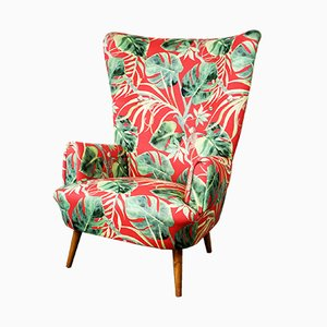 Mid-Century Austrian Wingback Lounge Chair with Floral Upholstery