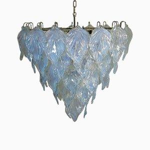Lampadario in vetro di Murano con 50 elementi in vetro opalino di Mazzega, 1984