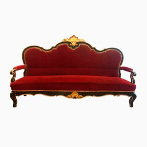 Antikes Sofa mit gold lackiertem Dekor, 1800er