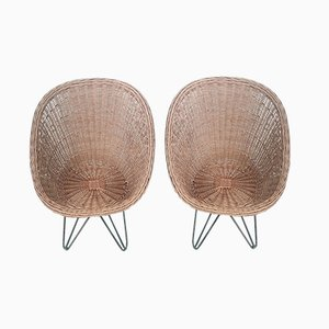 Wicker Lounge Chairs, 1960s, Set of 2