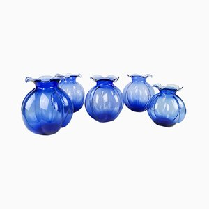 Blue Vases from Johansfors, 1950s, Set of 5
