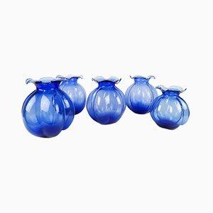 Blue Vases from Johansfors, 1950s, Set of 5