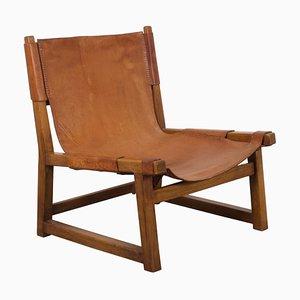 Hunting Sessel mit Gestell aus Eiche & cognacfarbenem Ledersitz von Paco Muñoz, 1950er