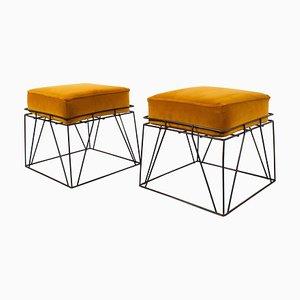 Taburetes cuadrados de alambre de Verner Panton, años 60. Juego de 2