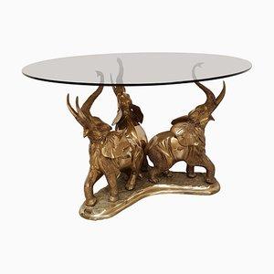 Mesa de comedor con elefantes de latón, años 70