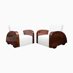 French Art Deco Club Chairs in Car Shape, 1920s, Set of 2