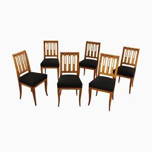Antike Biedermeier Esszimmerstühle, 1820er, 6er Set