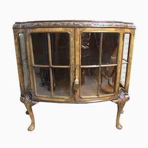 Queen Anne Burr Walnut Display Cabinet from Bird and Raine Ltd., 1910s