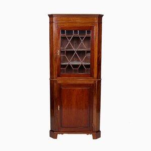Antiker viktorianischer Vitrinenschrank aus Mahagoni mit Glastür