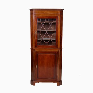 Antique Victorian Glazed Mahogany Corner Display Cabinet