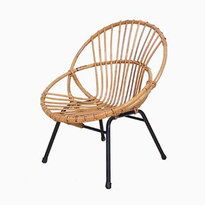 Vintage Bamboo Rattan Satellite Tub Chair, 1960s