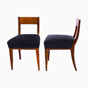Art Deco French Macassar and Ash Chairs, 1930s, Set of 2