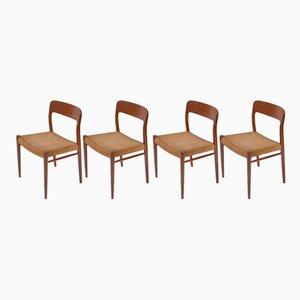 Modell 75 Stühle mit Gestell aus Teak von Niels O. Møller für J.L. Møllers, 1960er, 4er Set