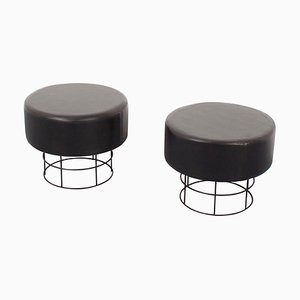 German Black Round Wire Stools, 1960s, Set of 2