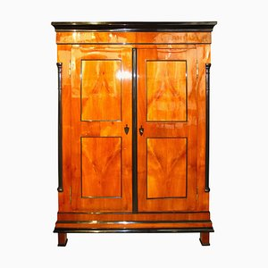 Biedermeier German Cherry Veneer Wardrobe, 1830s