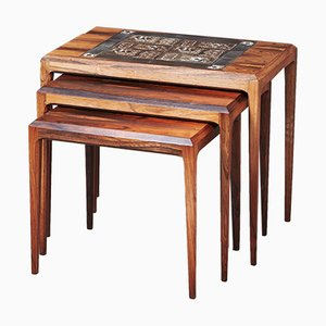 Nesting Tables Rosewood with Royal Copenhagen Tiles by Johannes Andersen for CFC Silkeborg, 1960s