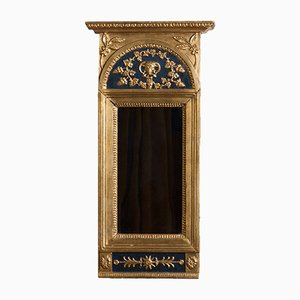Antique Empire French Gilded & Painted Mirror with Decoration