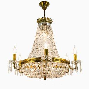 Lampadario a 12 luci in cristallo, anni '50