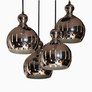 Chromed 4 Sphere Chandelier from Esperia, 1970s