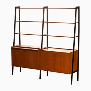 Swedish Teak Double Bookcase Unit, 1950s