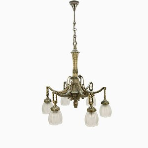 Art Deco French Bronze Chandelier, 1920s