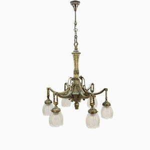 Lámpara de araña francesa Art Déco de bronce, años 20