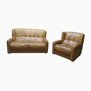 Vintage Leather Sofa & Armchair, 1980s, Set of 2