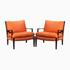 Chaises Löven en Lin Orange par Arne Norell, 1970s, Set de 2