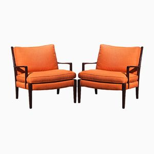 Orange Linen Löven Chairs by Arne Norell, 1970s, Set of 2
