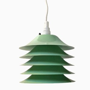 Vintage Danish Green Pendant Lamp with 5 shades, 1970s