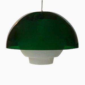 Dänische Vintage Hängelampe mit grünem Schirm von Bent Karlby für A. Schroder Kemi, 1970er