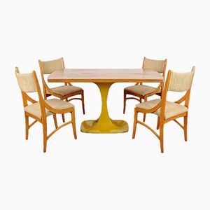 Set with Dining Table & 4 Chairs, 1960s