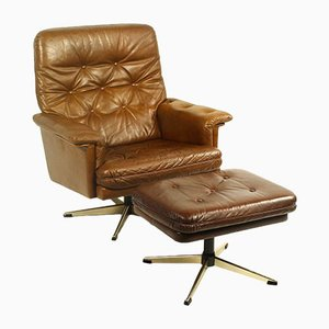Leather Swivel Chair & Ottoman Set, 1970s