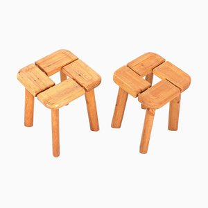 Vintage Pine Stools, 1970s, Set of 2