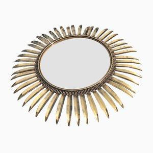 Vintage Spiegel mit Rahmen aus Messing in Sonnen-Optik