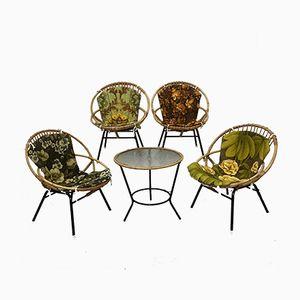 Juego de mesa y sillas vintage de ratán de Rohé Noordwolde, años 60