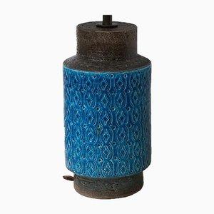 Lampada da tavolo in ceramica turchese di Bitossi, anni '60