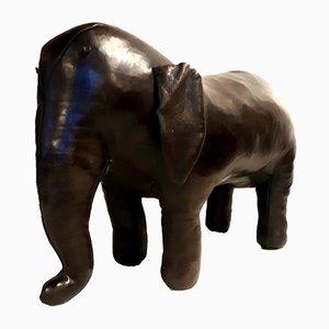 Poggiapiedi in pelle a forma di elefante di Dimitri Omersa per Liberty, anni '60