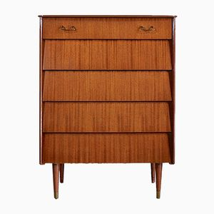 Mid-Century Teak and Brass Chest of Drawers from Avalon